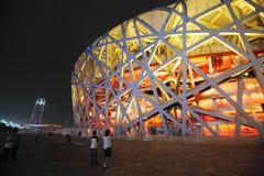 Стадион Пекин национальный на ноче Стоковые Фото