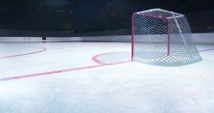 Стадион хоккея на льде за взглядом цели загоренным воротами с моргать вспышками камеры акции видеоматериалы