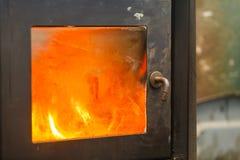 Стальная печь в деятельности Стоковое Изображение RF