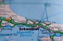 Стамбул на карте Стоковое фото RF