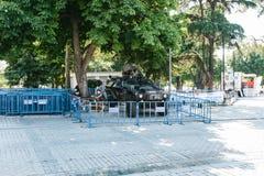 Стамбул, 15-ое июля 2017: Военное транспортное средство в квадрате Sultanahmet в Стамбуле Усиливать мер безопасности во время Стоковые Фото