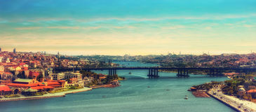 Стамбул взгляд Турции - городского пейзажа панорамный Стоковая Фотография RF