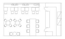 Стандартные символы мебели кафа на планах здания Стоковая Фотография