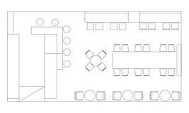 Стандартные символы мебели кафа на планах здания Стоковые Фото
