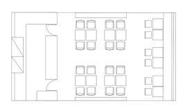 Стандартные символы мебели кафа на планах здания Стоковое фото RF