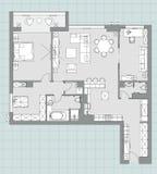 Стандартный комплект символов мебели живущей комнаты Стоковые Изображения RF