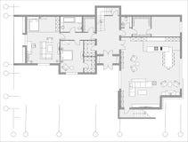 Стандартный комплект символов мебели живущей комнаты Стоковое Фото