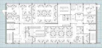 Стандартный комплект символов офисной мебели используемый в архитектуре планирует, комплект значка планирования офиса, элементы г стоковое фото rf