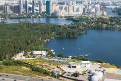 Станция вертодрома Москвы около реки Москвы Стоковая Фотография