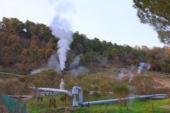 Станция геотермальной энергии в Monterotondo Стоковое Изображение
