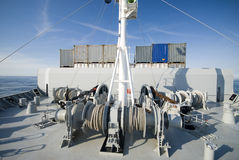 Станция зачаливания на борту большого корабля Стоковое фото RF