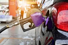 Станция масла для автомобиля на дороге Стоковое Изображение RF