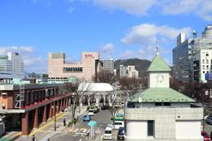 Станция метро города Фукусимы, Японии, нового фото 2018 стоковые фотографии rf
