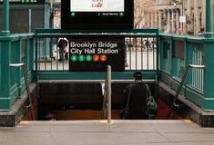 Станция метро Нью-Йорка к Бруклину Стоковое Изображение
