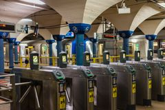 Станция метро пути в Hoboken Стоковые Изображения