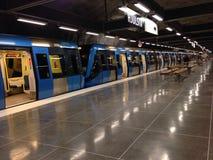 Станция метро Hjulsta в Стокгольме, Швеции Стоковые Изображения RF