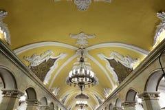 Станция метро Komsomolskaya(линия Koltsevaya) в Москве, России Стоковая Фотография