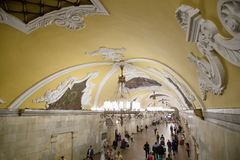 Станция метро Komsomolskaya(линия Koltsevaya) в Москве, России Стоковая Фотография RF