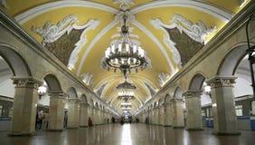 Станция метро Komsomolskaya(линия Koltsevaya) в Москве, России Стоковые Изображения