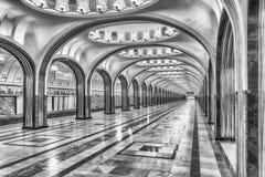 Станция метро Mayakovskaya в Москве, России стоковая фотография