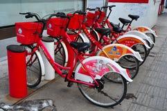 Станция общественного велосипеда арендная в Китае Стоковое фото RF