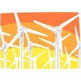 Станция против неба вечера, экологическая энергия энергии ветра производящ станцию, вектор возобновимых ресурсов горизонтальный Стоковая Фотография