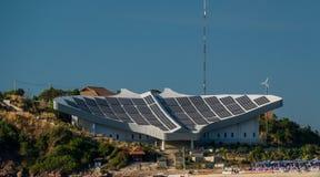 Станция солнечной энергии в куротной к зоне на острове к Lan в Паттайя стоковое изображение