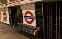 Станция строба Notting Hill, Лондон, Великобритания стоковая фотография rf