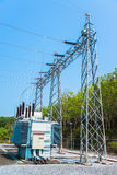 Станция трансформатора и высоковольтный поляк Стоковое Изображение RF