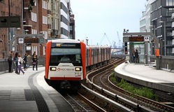 Станция Baumwall U-Bahn в Гамбурге, Германии Стоковое Изображение RF
