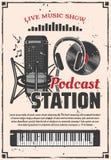 Станция podcast шоу музыки радио, ретро вектор бесплатная иллюстрация
