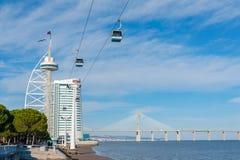 Станция telecabine Лиссабона северная против голубого неба Стоковые Фото