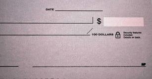 Стандартный банковский чек Стоковые Фото