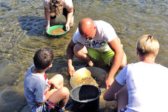 Старатели золота всех времен на банках реки Gardon Стоковое Фото