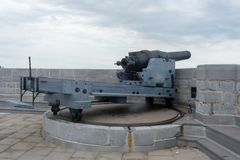 Старая артиллерия загрузки пролома британцев стоковая фотография rf