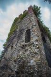 Старая башня замка перерастанная с лозами Стоковое Изображение RF