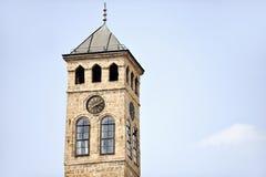 Старая башня с часами Сараева Стоковая Фотография