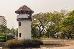 Старая башня тюремного офицера которая построила с кирпичом, древесиной и красным цветом Стоковая Фотография
