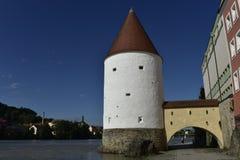 Старая башня Schaiblingsturm, Passau, Бавария, Германия Стоковое Изображение RF