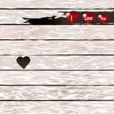 Старая белая деревянная текстура с сердцами, взгляд сверху