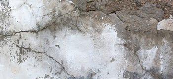 Старая белая стена гипсолита grunge с треснутой предпосылкой текстуры знамени структуры Стоковая Фотография RF