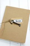 Старая бирка ключа и ярлыка на тетради Стоковое Изображение RF