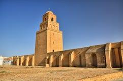 Старая большая мечеть, Kairouan, пустыня Сахары, Тунис, Африка, Стоковая Фотография