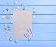 Старая бумага на голубых досках тема голубого морского моря безшовная Стоковые Изображения