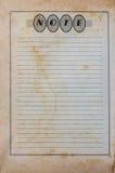 Старая бумага примечания Стоковые Изображения RF