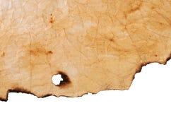 Старая бумага с, который сгорели краями Стоковое фото RF