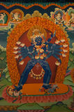 Старая буддийская фреска на стене тибетского монастыря, Hemis Gomp стоковые фото