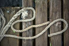 Старая веревочка корабля Стоковая Фотография