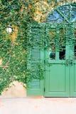 Старая дверь запертая с крышкой лозы дверь Стоковая Фотография