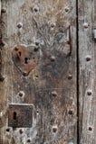 Старая дверь с keyholes Стоковая Фотография RF